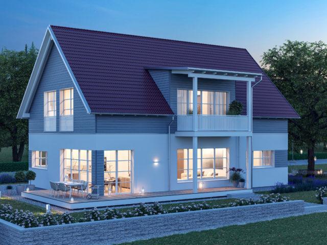 Architekturentwurf Klassik von Baufritz, Nacht, umlaufende Terrasse