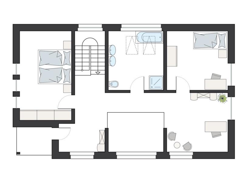 Grundriss Dachgeschoss ProFamily 173 von ProHaus by Gussek