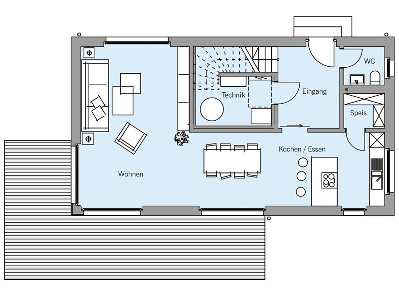Grundriss Erdgeschoss Architektenentwurf Pur von Baufritz