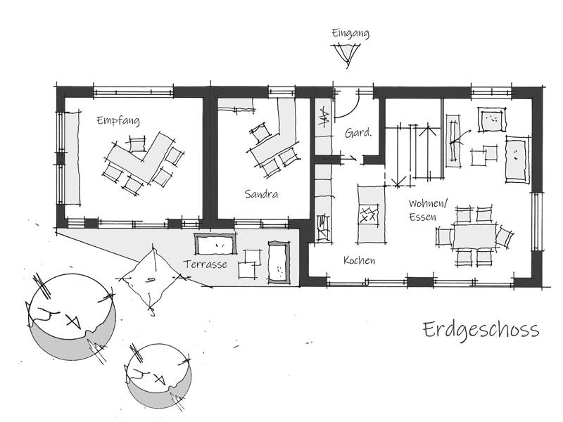 Grundriss Erdgeschoss Musterhaus Aviva Wolfsystem
