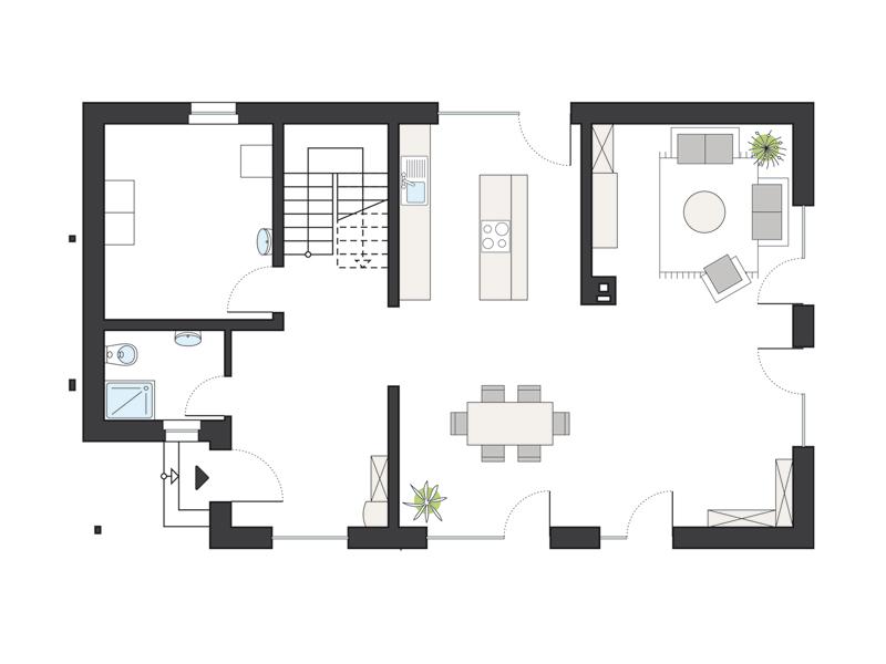 Grundriss Erdgeschoss ProFamily 173 von ProHaus by Gussek