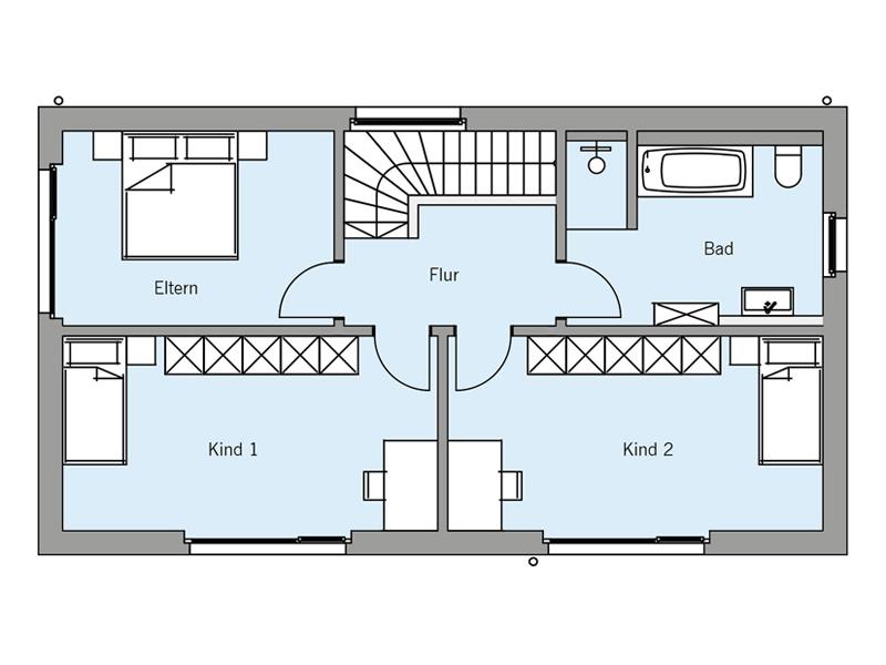 Grundriss Obergeschoss Architektenentwurf Pur von Baufritz