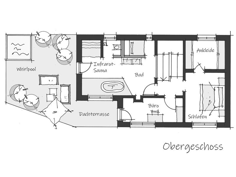 Grundriss Obergeschoss Musterhaus Aviva Wolfsystem