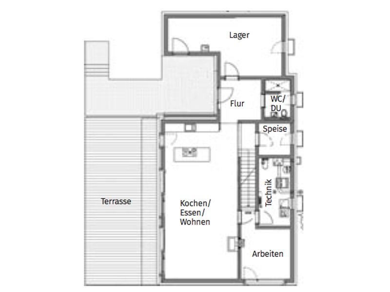 Grundriss Erdgeschoss Fertighaus-Weiss Haberstumpf