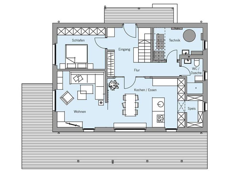 Grundriss Erdgeschoss Architektenentwurf Nordic von Baufritz