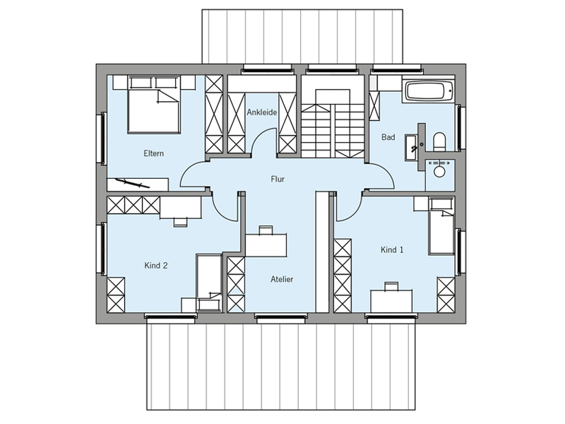 Grundriss Obergeschoss Architektenentwurf Nordic von Baufritz