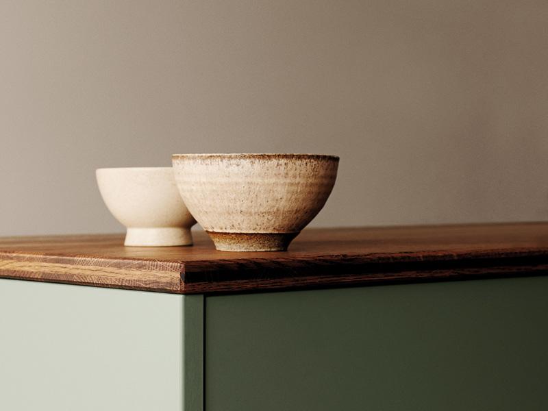Arbeitsfläche aus Eiche der Designküche Ombra von Kvik
