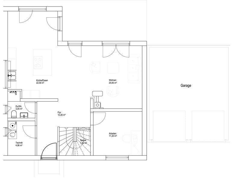 Luxhaus Satteldach Landhaus 151. Grundriss Erdgeschoss